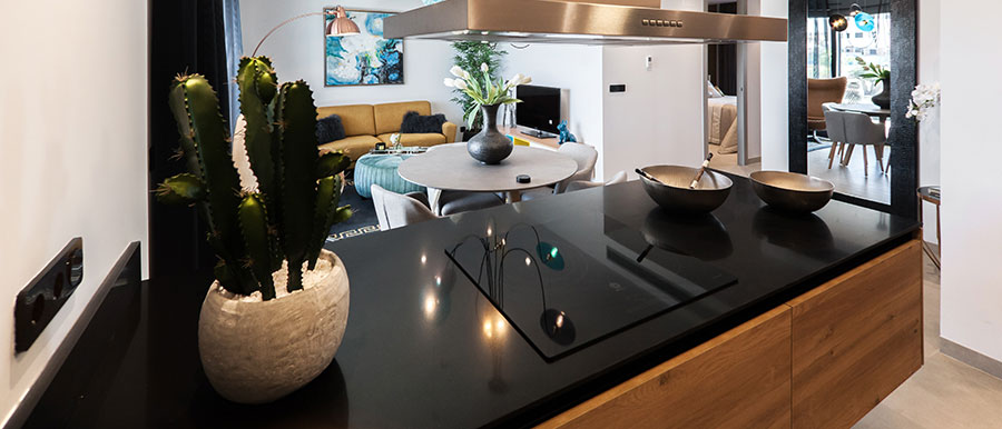 kitchen with black onyx countertop